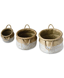 Round Natural Seagrass Baskets, Set of 3