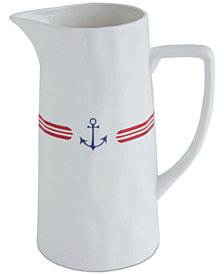 Stoneware Pitcher with Anchor & Stripes