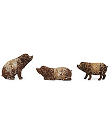 Pig Figurine with Distressed Finish, Set of 3
