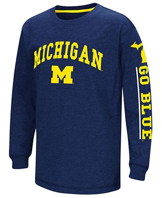 Colosseum Michigan Wolverines Grandstand Long Sleeve T-Shirt, Big Boys (8-20)