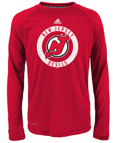 adidas New Jersey Devils Practice Graphic Long Sleeve T-Shirt, Big Boys (8-20)