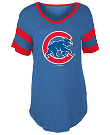 5th & Ocean Women's Chicago Cubs Sleeve Stripe Relax T-Shirt