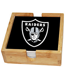 Memory Company Oakland Raiders 4-Pack Square Coaster With Caddy Set