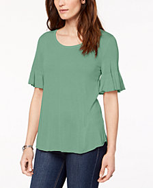 Style & Co Scoop-Neck Bell-Sleeve Sweater, Created for Macy's