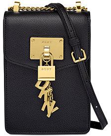 DKNY Elissa Pebble Leather Charm Chain Strap Crossbody, Created for Macy's