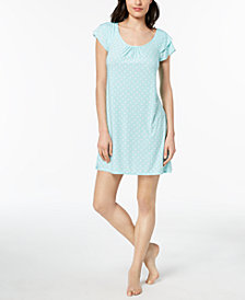 Alfani Flutter-Sleeve Geometric-Print Nightgown, Created for Macy's