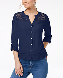 NY Collection Petite Lace-Yoke Button-Down Top