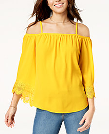 BCX Juniors' Off-The-Shoulder Crochet Top