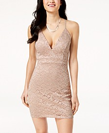 Juniors' Zip-Back Lace Bodycon Dress