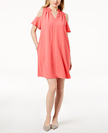 Charter Club Seamed Cold-Shoulder Dress, Created for Macy's