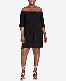 City Chic Trendy Plus Size Off-The-Shoulder Dress