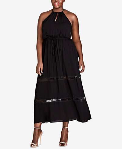 City Chic Trendy Plus Size Embroidered Maxi Dress