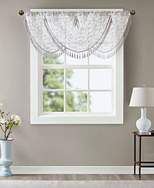 "Madison Park Irina 38"" x 46"" Embroidered Diamond Sheer Waterfall Valance"