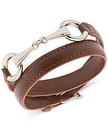 Lauren Ralph Lauren Link & Buckle Leather Wrap Bracelet
