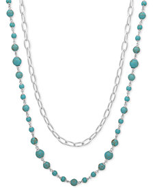 "Lauren Ralph Lauren 2-Pc. Set Link & Bead Strand Necklaces, 36"" + 3"" extender"
