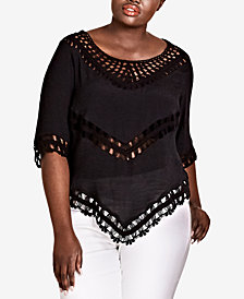 City Chic Trendy Plus Size Crochet Top
