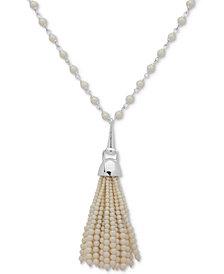 "Lauren Ralph Lauren Silver-Tone Imitation Pearl Tassel Pendant Necklace, 36"" + 3"" extender"