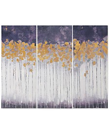 Madison Park Midnight Forest Violet 3-Pc. Gel-Coated Canvas Print Set with Gold-Tone Foil Embellishment