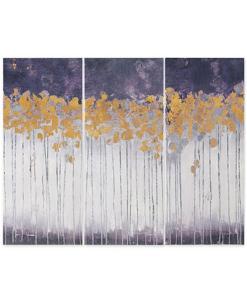 JLA Home Madison Park Midnight Forest Violet 3-Pc. Gel-Coated Canvas Print Set with Gold-Tone Foil Embellishment