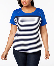 Karen Scott Plus Size Striped Embellished Top, Created for Macy's