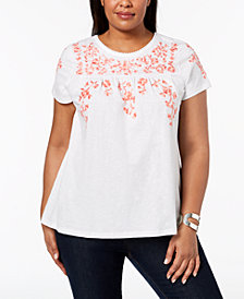 Charter Club Plus Size Cotton Embroidered Peasant T-Shirt, Created for Macy's