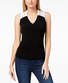 I.N.C. Petite Colorblocked Crisscross Top, Created for Macy's