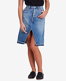 Free People Cotton Released-Hem Denim Midi Skirt