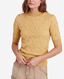 Free People Eden Textured Elbow-Sleeve Top