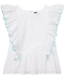 Polo Ralph Lauren Ruffled Cotton Top, Big Girls