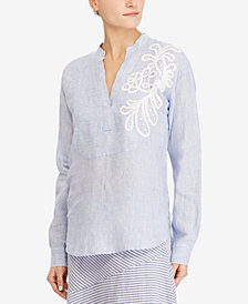 Lauren Ralph Lauren Embroidered Linen Shirt