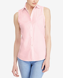 Lauren Ralph Lauren Petite Stretch Sleeveless Shirt