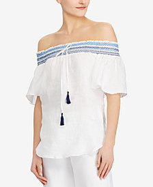 Lauren Ralph Lauren Off-The-Shoulder Linen Top