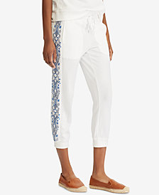 Lauren Ralph Lauren Embroidered Cotton Jogger Pants
