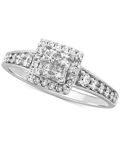 Diamond Princess Halo Engagement Ring (1 ct. t.w.) in 14k White Gold