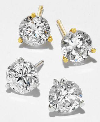 Macy S Near Colorless Certified Diamond Stud Earrings In 18k White