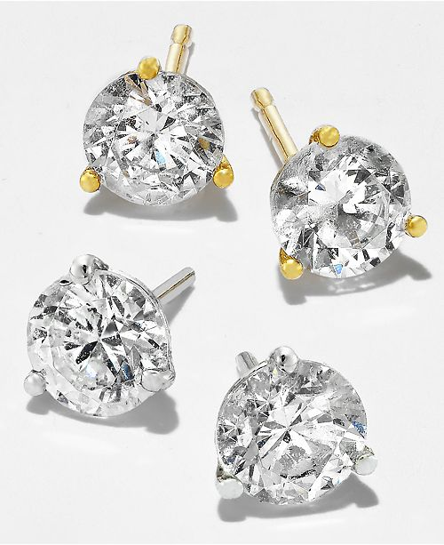 Macy S Near Colorless Certified Diamond Stud Earrings In 18k White Or Yellow Gold 1 4 Ct T W Jewelry Watches