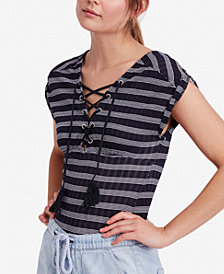 Free People Sail Out Striped Lace-Up Top