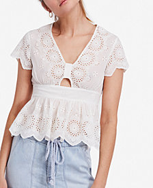 Free People Truly Yours Cutout Eyelet-Detail Top