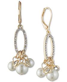 Anne Klein Gold-Tone Imitation Pearl & Pavé Shaky Drop Earrings