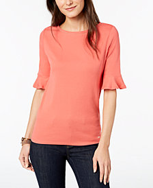 Tommy Hilfiger Cotton Flare-Sleeve Top, Created for Macy's