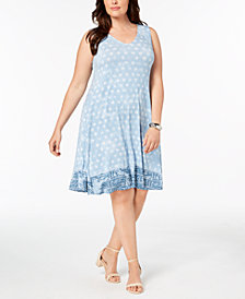 Style & Co Plus Size Printed Cross-Back Swing Dress, Created for Macy's