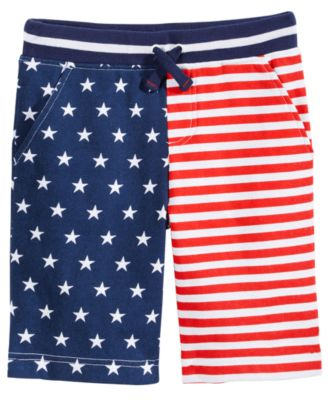 Red, White & Blue Printed Shorts, Little Boys, Created for Macy's