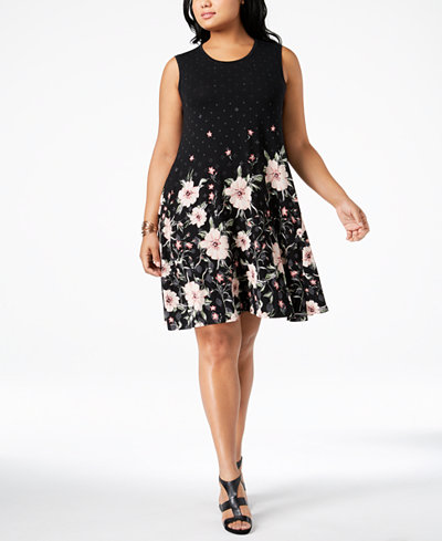 Style & Co Plus Size Printed A-Line Sleeveless Dress, Created for Macy's