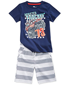 Epic Threads Graphic-Print T-Shirt & Rugby Striped Shorts Separates, Little Boys, Created for Macy's