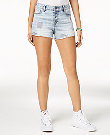 Black Daisy Juniors' Ripped Denim Shorts