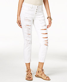 Black Daisy Juniors' Jamie Ripped Cuffed Relaxed Fit Girlfriend Jeans