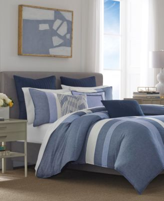 Waterbury 3-Pc. Pieced Embroidered-Stripe Full/Queen Duvet Cover Set