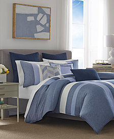 Nautica Waterbury 3-Pc. Pieced Embroidered-Stripe Full/Queen Comforter Set