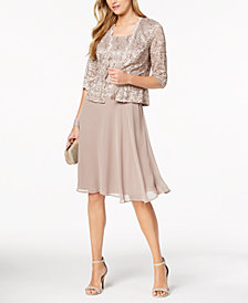 R & M Richards Petite Sequined Lace Chiffon Dress & Jacket