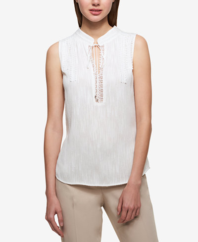 Tommy Hilfiger Tie-Neck Lace-Trim Shell
